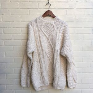 Vintage Cream Off White Knit Yarn Sweater